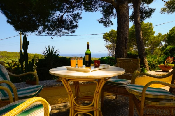Ferienhaus Cala Ratjada Terrasse mit Meerblick ohne Whirlpool Swimmingpool Schwimmbad